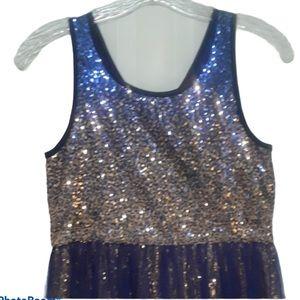 NWT Hannah Banana blue & gold sequined party dress